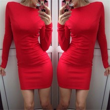 Long Sleeve Dress Nice Fashion Party Sexy Club Bodycon Bandage Mini Vestidos Casual O-neck Slim Solid Black Red Pencil Dresses