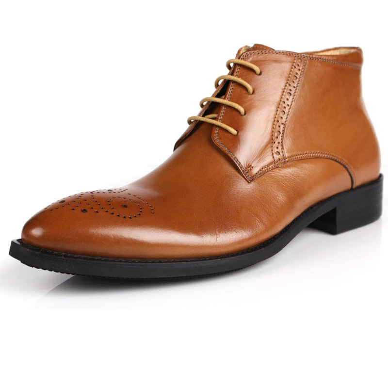 2017 New mens Genuine Leather Tidal Current Male Commercial Fashion Pointed Toe Cowhide Carved Office Ankle Footwear Botas<br><br>Aliexpress