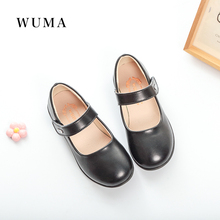 WUMA Children School Uniform Shoes Pretty Comfortable for girls dress shoes black princess genuine Leather shoes 2017 party(China)
