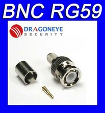 Freeshipping BNC male crimp plug for RG59 coaxial cable, RG59 BNC Connector BNC male 3-piece crimp connector plugs RG59 300PCS