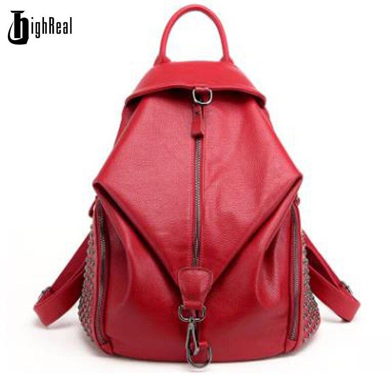 HIGHREAL Fashion Women Backpack Youth Genuine Leather Backpacks for Teenage Girls Female School Shoulder Bag Bagpack Mochila<br>