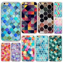 Fashion Colorful 3D Scales Squama Hard Phone Cases iPhone 7 Plus 6 6S 5 5s SE Relief Geometric Pattern Back Cover - bigbigxuan Official Store store