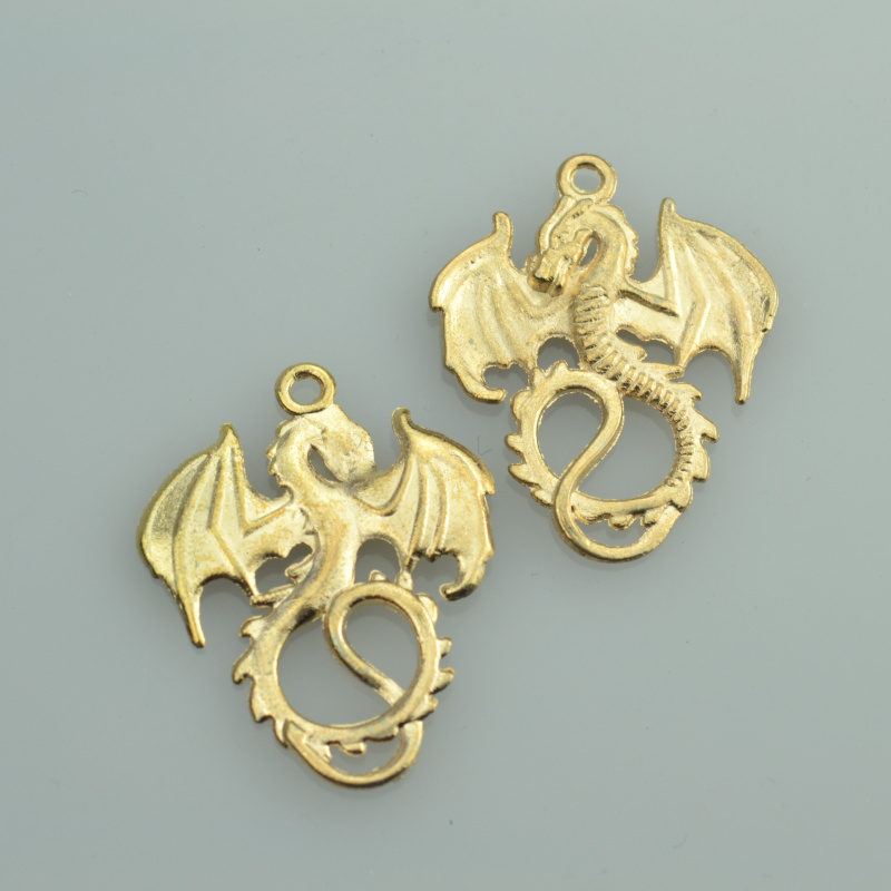 10 pcs free Champagne gold charms diy metal Dragon pendant necklace&bracelets jewelry making 35*28 mm 33146A