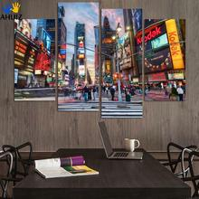 Fashion Abstract New York Buildings Oil Painting Color City Pictures Landscape Canvas Set Modern Wall Art Decoration(China)