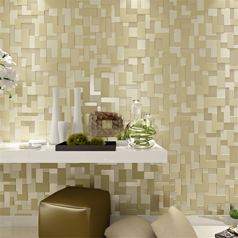 beibehang embossed non woven stereoscopic mosaic wallpaper rolls modern woven 3D flocking wall paper living room Home Decoration<br>