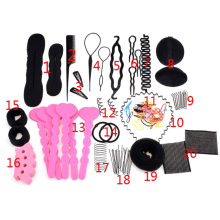20 different type/set Hair Twist Band Hair Comb Hairpin Rubber Device Hair Styling Clip Accessories Bun Donut Maker Braid Tool