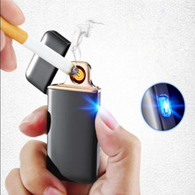 2017 New USB Lighter Rechargeable Electronic Lighter Ultra Thin Cigarette Turbo Lighter Encendedor Cigar Palsma Pulse Lighter(China)
