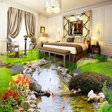 Custom photo 3D wallpaper new designs PVC 3d floor wallpaper naturl river water wallpaper roll(China)
