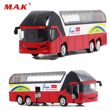 Kids Toys New York Alloy Sightseeing Bus Model Pull Back With Sound and Light Gift Toys for Boys(China)