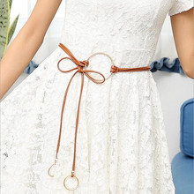 Fashion ladies belt knot double ring belt rope dress boutique string waistband wholesale