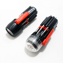 8 in one Multi Screwdriver with LED Flashlight Torch Hand Tools Multi-functional Flashlight Slotted Phillips Hex Screw Driver