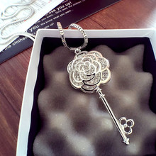 N56  Camellia Flowers Famous Luxury Brand Charm Jewelry Collier Femme Sweater Chain Long Necklace 2016 New For Women