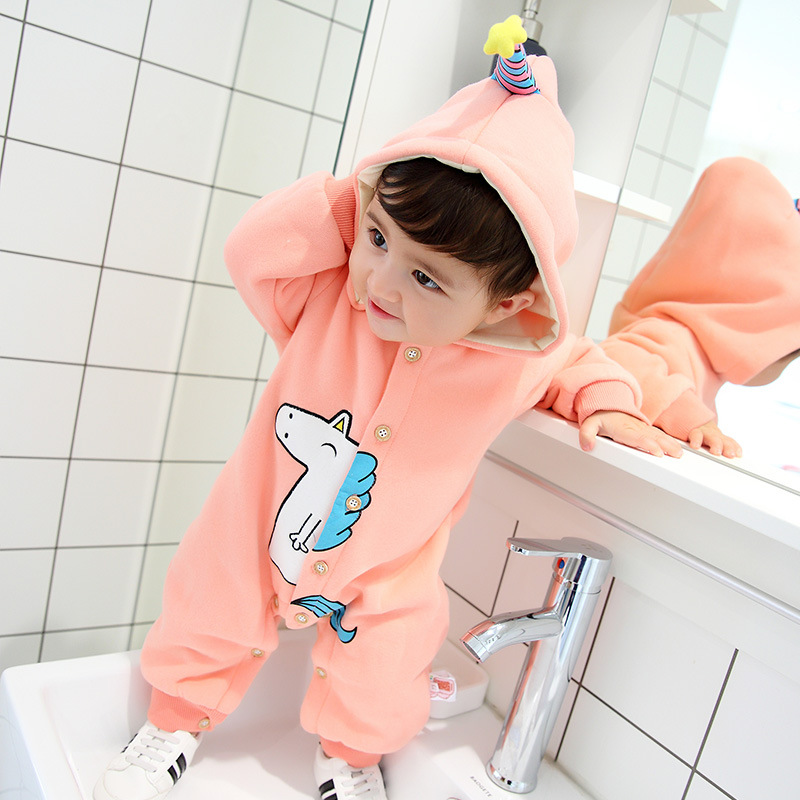 Unisex Newborn Baby Clothes Long Sleeve Baby Boy Jumpsuits Cartoon Unicorn Printed Baby Girls Clothes Autumn Baby Girls Rompers<br>
