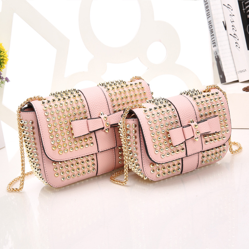 22.5x15CM   Shoulder Bag Handbag Bowknot Joker Character Rivet Chain messenger bag A2413<br>