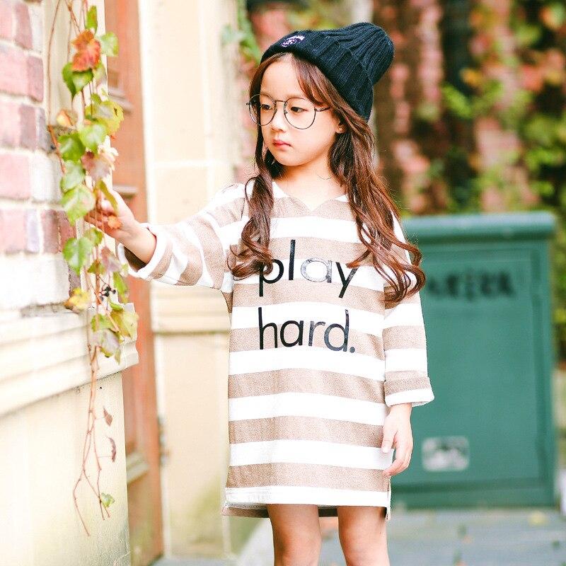 little teenage girl long t shirts dress black brown striped long sleeve girl dresses casual spring autumn t-shirts kids clothing<br><br>Aliexpress