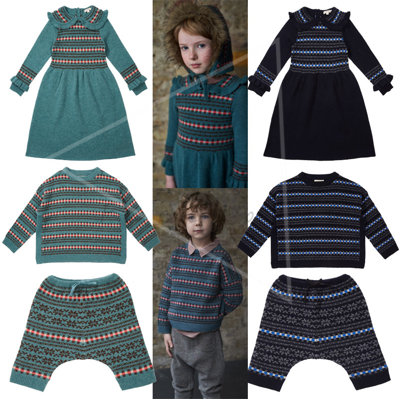 Kids Clothing Sets Knitwear Toddler Girls Winter Caramel Dress Baby Boy Knitted Jumper Sweater Baby Child Clothes Trousers Pants