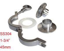 "One Set SS304 Stainless Steel Material 1-3/4"" Sanitary Welding Type Tri Clamp Union Pipe Fittings(China)"