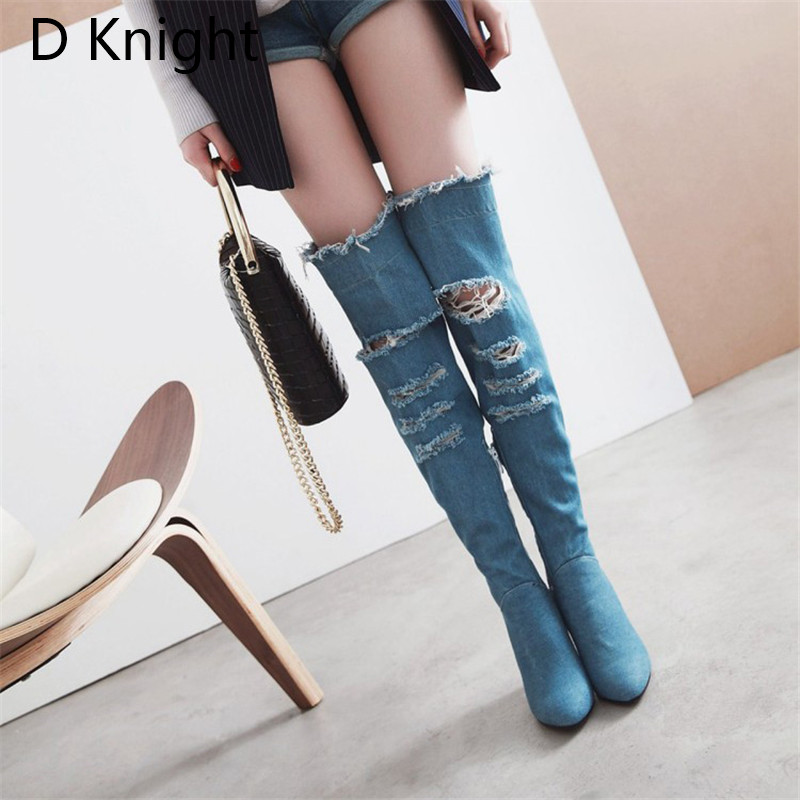 2018 Winter Boots Sexy Ponited Toe Women\`s Over The Knee Boots Fashion Denim Blue thigh High Boots Large Size 48 High Heels Boot (2)