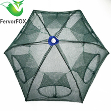 Folded Portable Hexagon 6 Hole Automatic Fishing Shrimp Trap Fishing Net Fish Shrimp Minnow Crab Baits Cast Mesh Trap(China)
