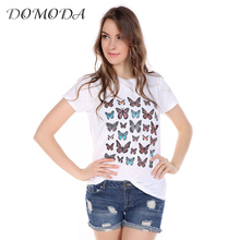 DOMODA Apparel Butterfly Printed T-shirt Women Solid Color Casual O-Neck Female Tee Top Short Sleeve Streetwear Pullover Tees