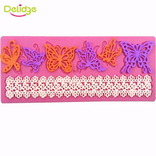 Delidge New Butterfly Design Silicone Fondant Mould DIY Chocolate Sugar Craft Candy Cake Lace Decorating Around The Edge Mold