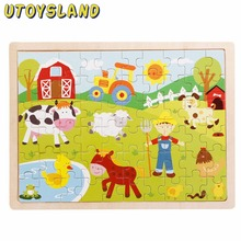 UTOYSLAND 60 Piece/set Apple Tree Farm Animals Wooden Jigsaw Puzzle Baby Kids Children Educational Toys