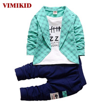 VIMIKID 2017 Spring Autumn Toddler Baby Boy Formal Clothing Fashion Sets Newest Boys Clothes Suit 2PCS Children's Infant Clothes(China)