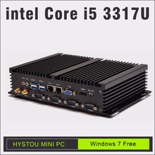 core i5 3317u hystou fmp dual lan mini computer windows 7 celeron 1037u 12v mini pc windows XP fanless minipc alloy case nettop(China)