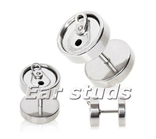 16 Gauge Stainless Steel Soda Pop Can Faux Plug Cheater fake ear plugs