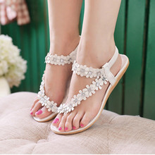 Best Gift Women Summer Bohemia Beaded Flower Beads Flip-flop Shoes Flat Sandals 2017 Lady Flats Shoes Collocation a long skirt