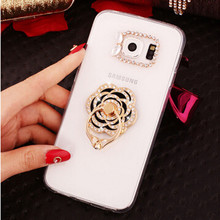 New 3D peacock sun bling Crystal diamond Stand Cell Phone Shell back Skin cover hard case For Samsung Galaxy note7 note 7(China)