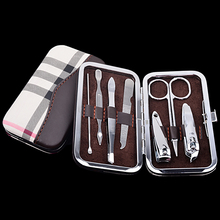 nail clipper professional kit stainless steel cuticle cutter nail trimmer manicure scissors pedicure personal care kit 7pcs(China)
