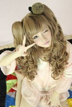 MCOSER Light Brown Heat Friendly Clip on 2 Ponytails Wavy Hair Wig/Lolita Cosplay Wig