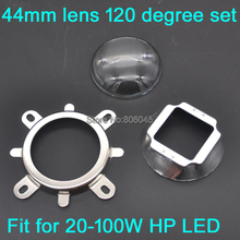 1Set 44mm Glass LED Lens 120 Degree Beam Angle + 50mm Reflector Collimator + Fixed Bracket for 20W 30W 50W 100W High Power LED