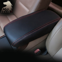 For Hyundai ix25 creta middle armrest box leather cover interior black thread styling decoration products accessory 2015 2016