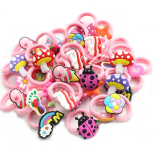 10pcs/lot Cartoon Hair band Children Hair Accessories kids Scrunchy Elastic Hair Bands for women girls rubber band(China)