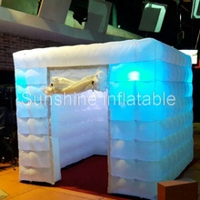 Luxury 2.7x2.7x2.4m portable inflatable photo booth colorful mini cube led tent photo studio for party(China)