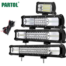 "Partol 5"" 12"" 16"" 20"" Tri-Row LED Light Bar Combo Beam 6000K ATV SUV LED Bar 4X4 4WD Offroad Driving Work Light Truck Camper 12V(China)"