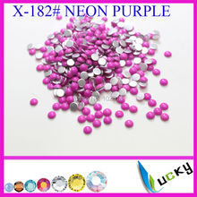 4320PCS 4mm half round shape KOREAN hotfix epoxy  flatback pearl perfect look neon purple