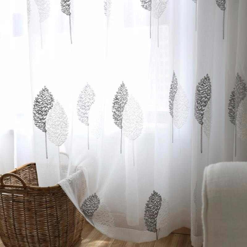 Tiyana Quality Embroidered Linen Blind Curtain Window Screen For Living Room Nordic Grey Leaves Kitchen Tulle Curtains HP022D3