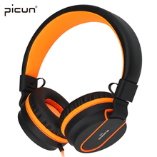 Original PICUN I35 Gray Green Orange Foldable Wired Cute Big Headphones for Girls L Bending Earphones with Mic for iPhone Xiaomi(China)