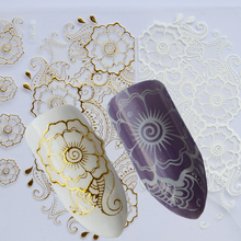 3D Gold White Nail Sticker Decals for Manicure Gel Polish Tips Decorations Super Thin Beautiful Flower Nail Art CHBP267(China)