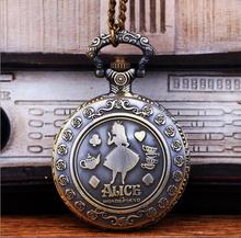 Vintage Quartz Cute Alice in Wonderland Rabbit Flower Pocket Watch Pendant Necklace Chain Women Girl Steampunk Movie Jewelry