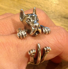 newest wholesale cute Great Dane Ring free size cartoon animal dog Ring bulldog ring  jewelry for lady 12pcs/lot