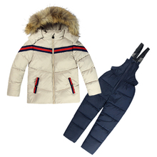Winter Clothing Set 2 PCs Down Coat+Overalls Boys Ski Suits Warm Windproof Outwear Girls Snowsuits Jackets+scarf Pants 2-6T Kids(China)
