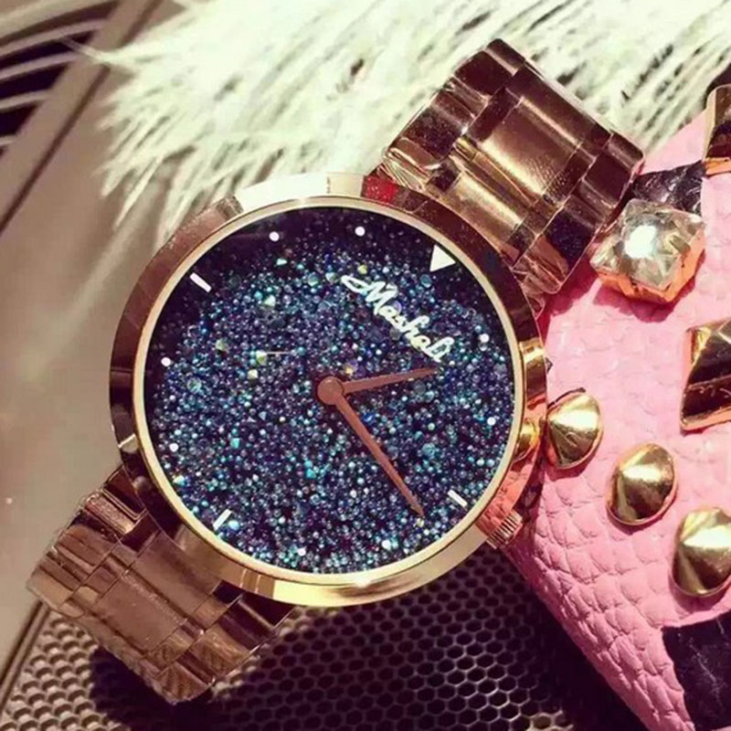 Top Quality Women Watches Luxury Steel Full Rhinestone Wristwatch Lady Crystal Dress Watches Gold Female Watch reloj mujer<br>
