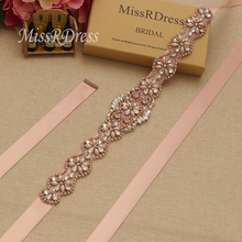Buy MissRDress Handmade Wedding Sash Belt Rose Gold Crystal Rhinestones Ribbons Bridal Sash Belt Wedding Evening Dresses JK806 for $8.90 in AliExpress store