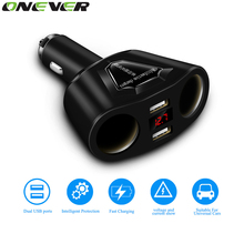 Onever 12V-24V Car Splitter Cigarette Lighter Socket Power Adapter 3.1A Dual USB Car Charger 120W Power Output with Voltmeter