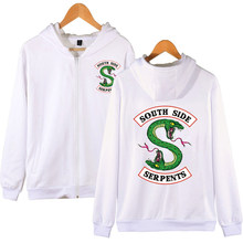 Riverdale Hoodie South Side Serpents Zip UP Hoodie SouthSide Serpents Mantel  Zipper Hoodie(China) 4c339fa7e5