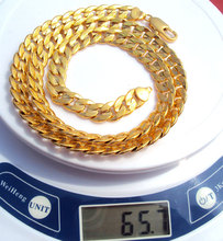 24K Solid Gold GF real  two-sided sequence sand Cuban Link Chain Necklace 23.6inch Not satisfied, 7 days no reason to refund